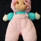 Plush Puffy Nylon Doll Pink quilted overalls Aqua shirt
