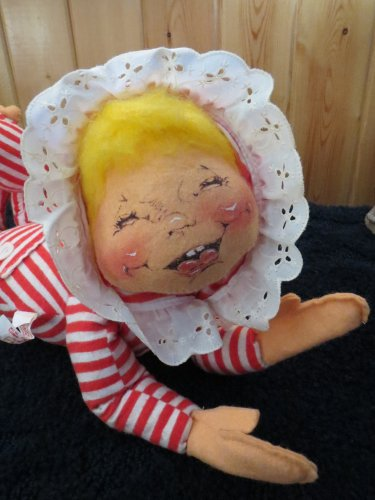 Vintage Mobilitee Dolls Inc 1965 Annalee Doll  Pose-able in red white striped Pajamas