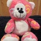 Pink Plush Bear orange swirls green lavender blue
