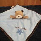 Carters Blue Security Blanket  Tan Bear Love Me Plush Rattle Star