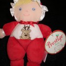 New Prestige Red Doll Reindeer Christmas Blonde Blue Eyed Plush Rattle