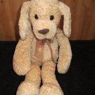 Commowealth Cream Tan Puppy Dog plaid organza  Bow Plush Stuffed Lovey Soft Toy 18""