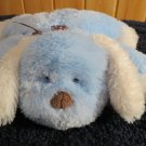 Carters Flat Blue fluffy Puppy Dog with white ears and Brown Ribbon white dots