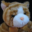 "15"" Orange Tabby Cat Plush Rusty Orange Bow Blue Eyes"