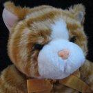 """15"""" Orange Tabby Cat Plush Rusty Orange Bow Blue Eyes"""