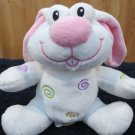 DanDee Plush White Bunny Rabbit Pink nose Swirls Dan Dee