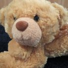 "12"" Laying Plush Floppy Bear by Aurora Golden tan"