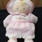 Kids Preferred Plush Pink Doll in Seersucker and roses Lovey