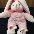 Dan Dee 'Jesus Loves Me' Singing Pink Bunny Rabbit, wearing Bunny Slippers