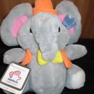 Vintage Applause Knickerbocker Plush gray Elephant named Ingrid in Hat vest 1981