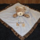 Child of Mine by Carters Tan Teddy Bear Blue Lovey Security Blanket with Rattle