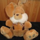 DanDee Plush Brown Bunny Rabbit Big Feet  satin suspenders and plaid bow tie Dan Dee