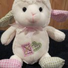 Goffa Int'l White Plush Lamb checkered heart gold cross