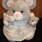 Vintage 1989 Plush Mama Mouse and two babies Plush Toy