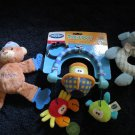 Three Plush Baby Toys New  Playgro Tug a Boat Rookie teether blue plush dog rattle