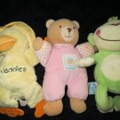 Three Plush Baby Toys Amscan Monkey Baby B'gosh Bear Kids II Waddles Duck Teether