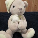 Carters Classics Plush Musical Tan teddy bear holding a small bear