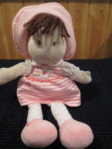 Prestige baby Pink plush  Doll with stripes dots and brown hair