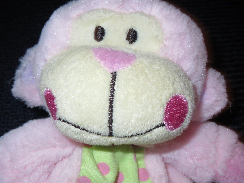 New Baby Essentials Pink Monkey Security Blanket Dots