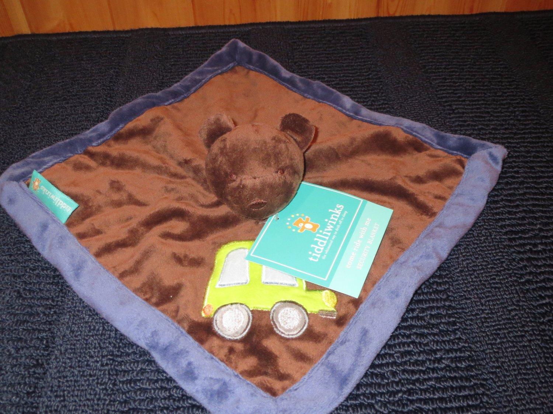 New Tiddliwinks Brown Bear Security Blanket Lovey Green truck