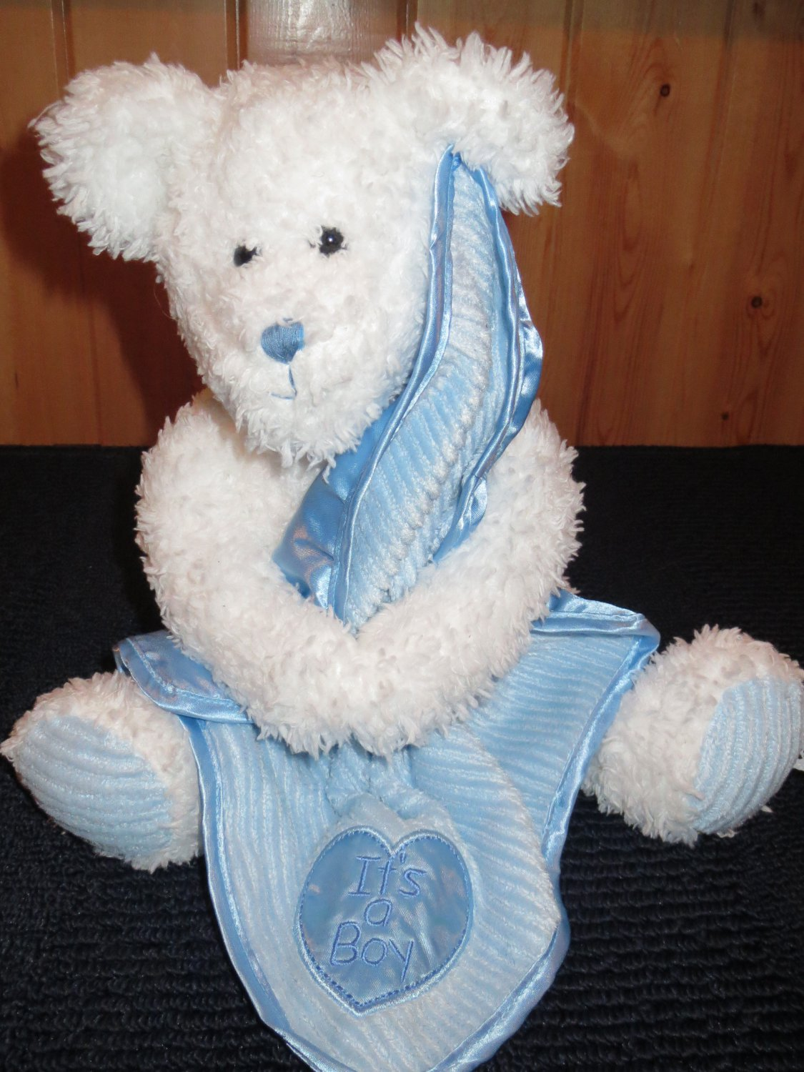 Baby Boyds White Bear holding Blue Blanket Its a Boy