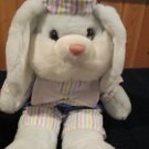 Vintage Fordlet Plush powder blue Bunny Rabbit Dressed in Dots Stripes