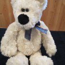Animal Adventure Plush White Cream Ivory Bear wears Purple Plaid Ribbon