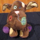 Plush Brown Dog with Patches Butterfly on foot