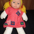 "Anne Geddes 15"" Plush Doll Named Stephanie Hard face Red dress Yellow Yarn Hair"