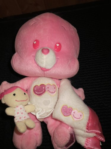 Care Bear Cubs Love a Lot with security blanket and Plush doll Pink CareBear
