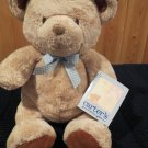 Carters Plush Tan Bear Blue checkered bow rust brown feet Just one year