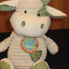 Dan Dee Plush Corded Cow Green Gingham Trim Dandee