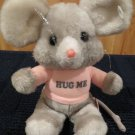 Vintage gray plush mouse pink shirt hug me Russ Berrie ground nutshells  #949