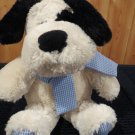 Animal Adventure Plush Black and White Puppy Dog Blue Gingham