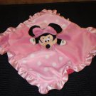 Disney Baby Pink Plush Minnie Mouse Security Blanket Lovey white dots