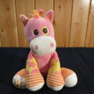 Animal Alley Plush Horse Pink Print striped legs trim Sun on Foot