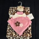 NWT Baby Gear pink monkey security blanket plus leopard print blanket