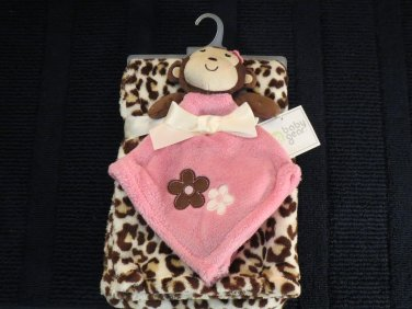 NWT Baby Gear pink monkey security blanket plus leopard print blanket