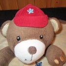Just Born Brown Bear in Red Cap Security Blanket