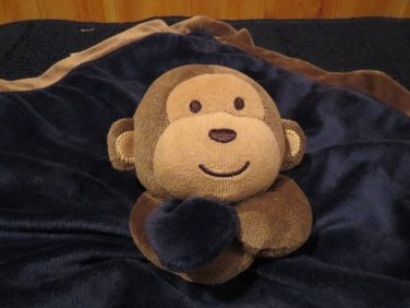 Carters Brown Monkey Navy Blue Security Blanket Lovey