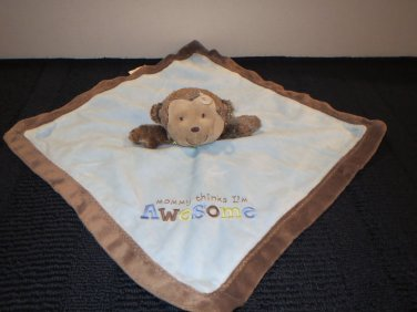 Carter's  Brown Monkey Blue Security blanket 'Mommy thinks I'm awesome'