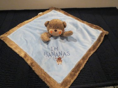 Carter's  Brown Monkey Blue Security blanket 'I'm Bananas'