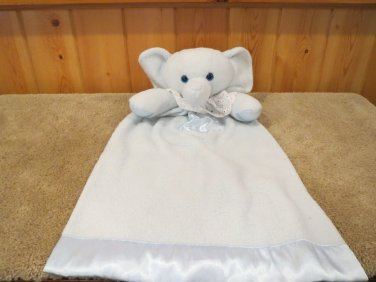 Blue Elephant Gown Security blanket with satin heart