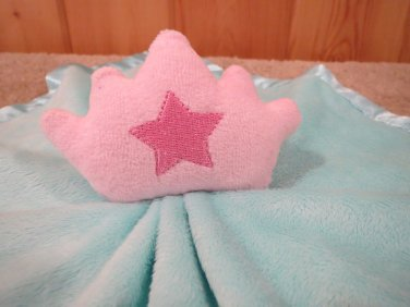 Baby Essentials Teal Blue Security Blanket with pink Crown