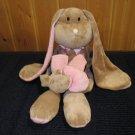 Babystyle Plush Tan Bunny Rabbit long arms, legs &ears Pink Stripes
