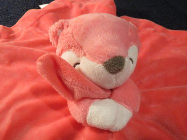 Carters Pink Fox Security Blanket rattles