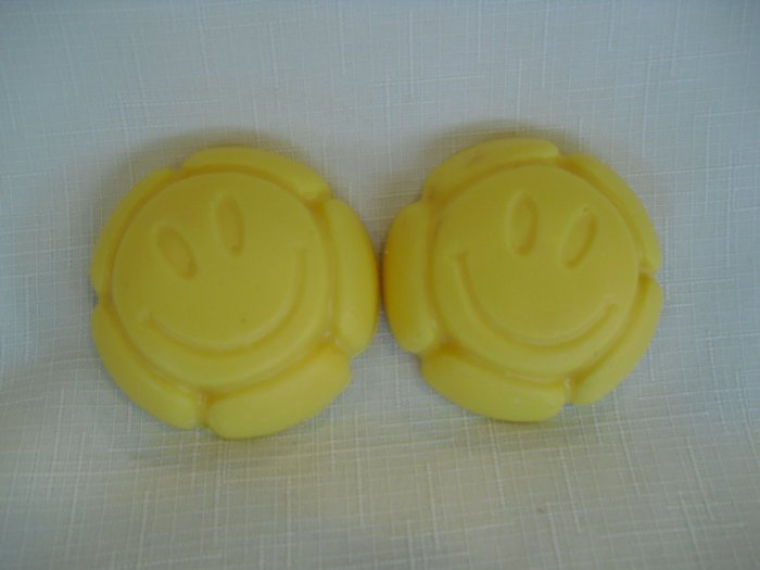Yellow Happy Face Soaps- Set of 2  Homemade soaps