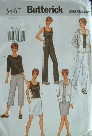 BUTTERICK #3467 Uncut Sz 12-16 Jacket,Top, Skirt & Pants Sewing Pattern