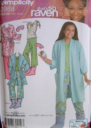 SIMPLICITY #3988 Uncut Girls+ Robe, PJ's & Booties Sewing Pattern