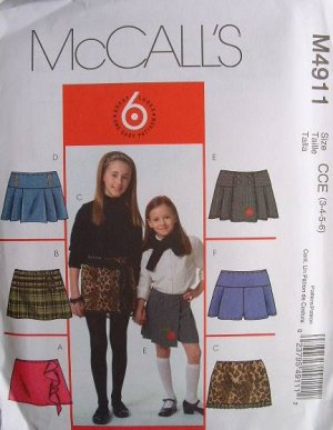 MCCALLS OOP#4911 Uncut Sz 3-6 A-line Skirts or Skorts Sewing Pattern